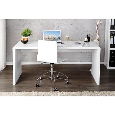 Magasfényű íróasztal, 120x60 cm, fehér - ARCHI